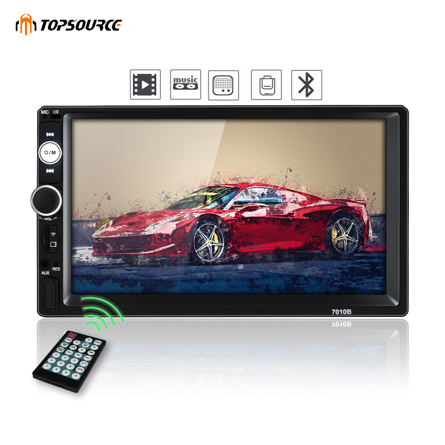 TOPSOURCE Car Radio 7010B HD Player MP5 Touch Screen Digital Display Multimedia USB 2 Din Bluetooth Autoradio Car Backup Monitor