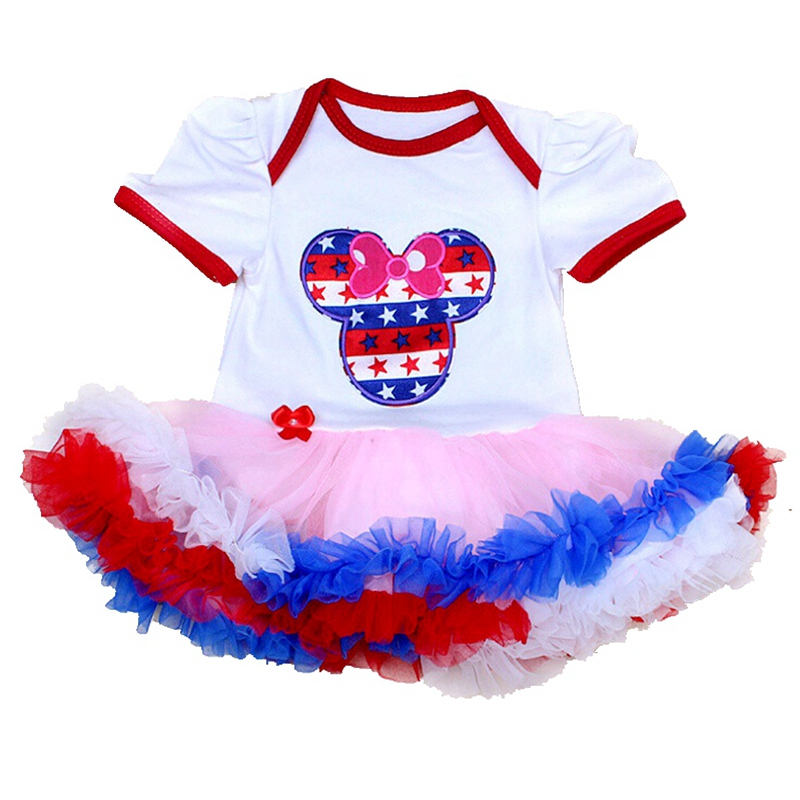 be927e4e3b6a Minnie 4th Of July Outfit Baby Rompers Party Dresses Girls Summer Overalls  Lace Romper Newborn Baby Girl Clothes Infant Clothing-in Rompers from  Mother ...
