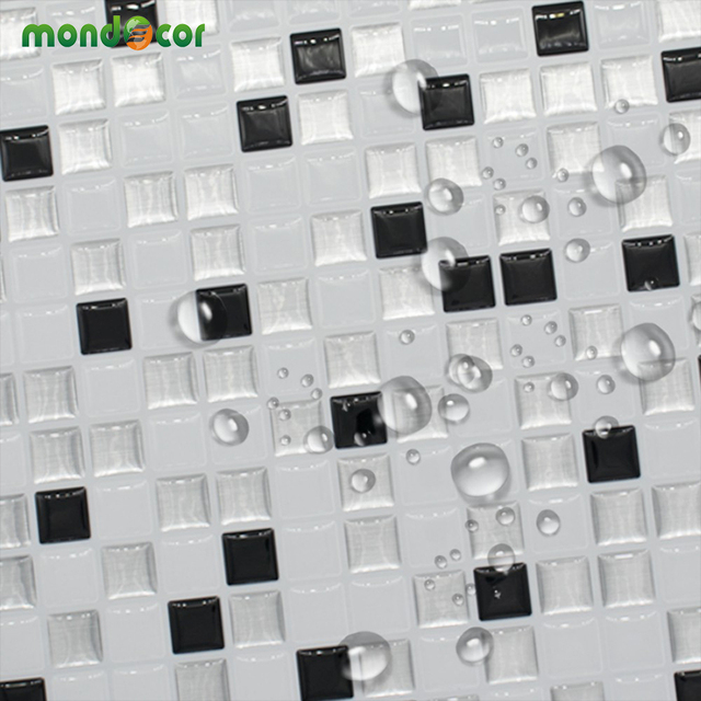 3d White Grey Marble Mosaic Tile Peel And Stick Wall Sticker Self