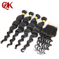 Loose wave FREE SHIPPING 4 bundles Weave on Brazilian Virgin WEFT Hair wavy with lace closure  Free part BLEACHED KNOTS
