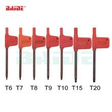T6 T7 T8 T9 T10 T15 T20 Torx Screwdriver Spanner Key Small Red Flag Screw Drivers Tools 200pcs/lot