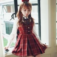 Princess sweet lolita dress BoBON21 Exclusive design high quality College style Woolen grid Vest dress D1283