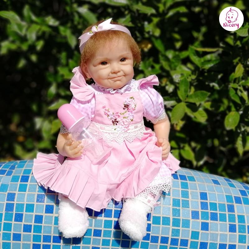 Nicery 18/20 22 zoll 45/50 55cm Bebe Baby Puppe Reborn Weichen Silikon Junge Mädchen Spielzeug Reborn Baby puppe Geschenk für Kind Rosa Blume Puppe-in Puppen aus Spielzeug und Hobbys bei  Gruppe 3