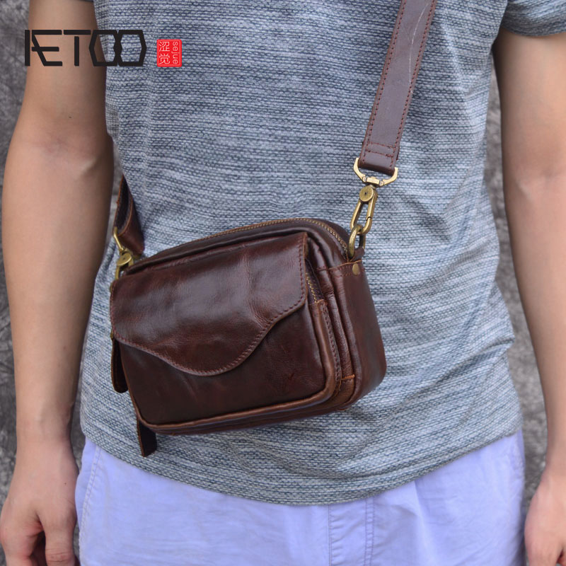 AETOO New Fashion Cowhide Man Messenger Bags Genuine Leather Male Cross Body Bag Casual Men small Bag new casual real first layer cow leather men s cross body bag small mini design cowhide shoulder bag fashion male messenger bags
