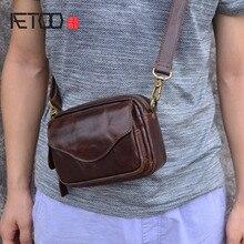 AETOO New Fashion Cowhide Man Messenger Bags Genuine Leather Male Cross Body Bag Casual Men small Bag
