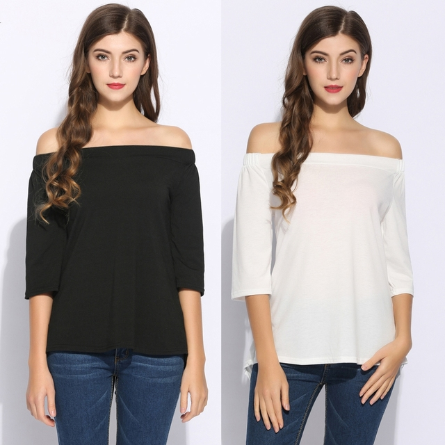 b54b0b62f50ed Casual Women Half Sleeve Elastic T-Shirt Off Shoulder Back Hem T-Shirts High