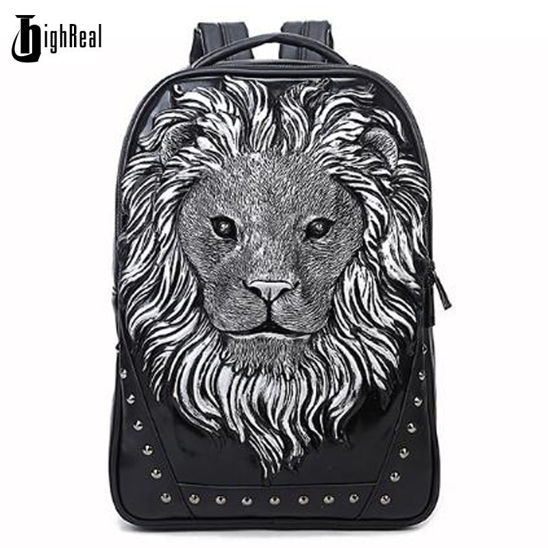Fashion Backpack Women Backpacks Men Backpack Famale 3D Printing Lion Rivet Backpacks Women School Bags For Teenagers Travel Bag 3d lion leather backpacks fashion men school travel computer backpack bags personality silver gold rivet animal bags halloween