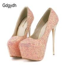 Gdgydh ファッション女性ハイヒールプラットフォームシューズ 新春秋ブリンブリン女性パンプス薄型かかとセクシーなスリムパーティー靴高かかと 2018