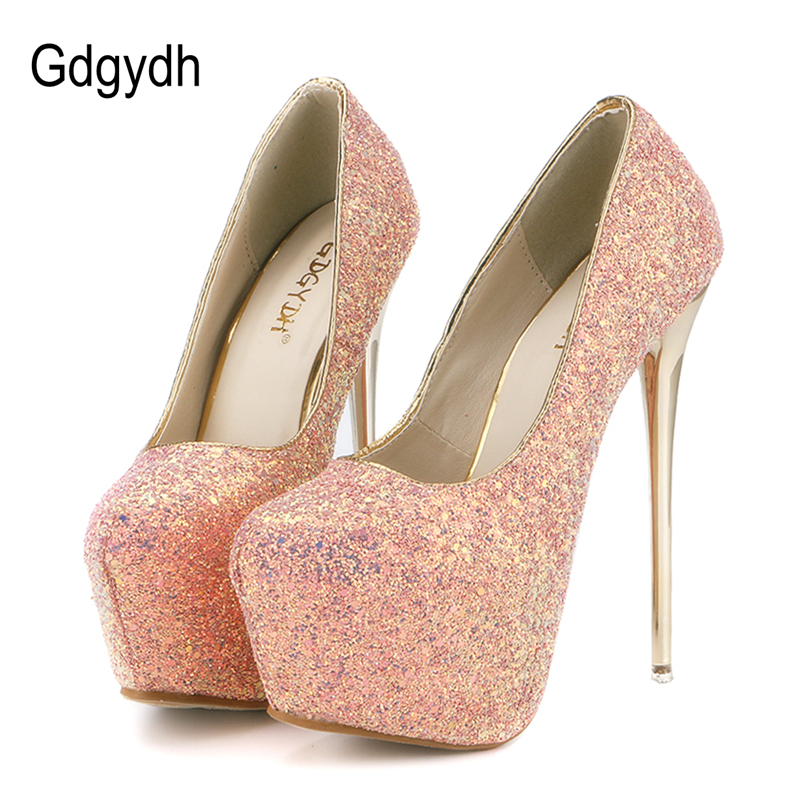 Gdgydh Fashion Women Heels Platform Sko 2018 Ny Forår Bling Kvinder Pumper Tynde Hæle Sexy Slim Party Shoes High Heels