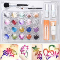 Free shipping 20 pcs Glitter Tattoos Powder/Brushes / Glue / Stencils for Temporary Tattoo/ body painting Kit