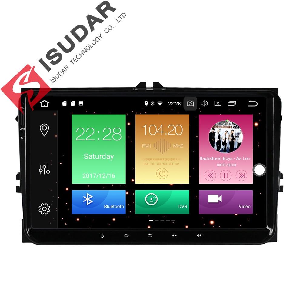 Isudar Автомагнитола на Android 8.0 1 Din с Сенсорным 9 Дюймовым Экраном для Автомобилей VW/Golf/Tiguan/Skoda/Fabia/Rapid/Seat/Leon DSP С Поддержкой Canbus FM Wifi