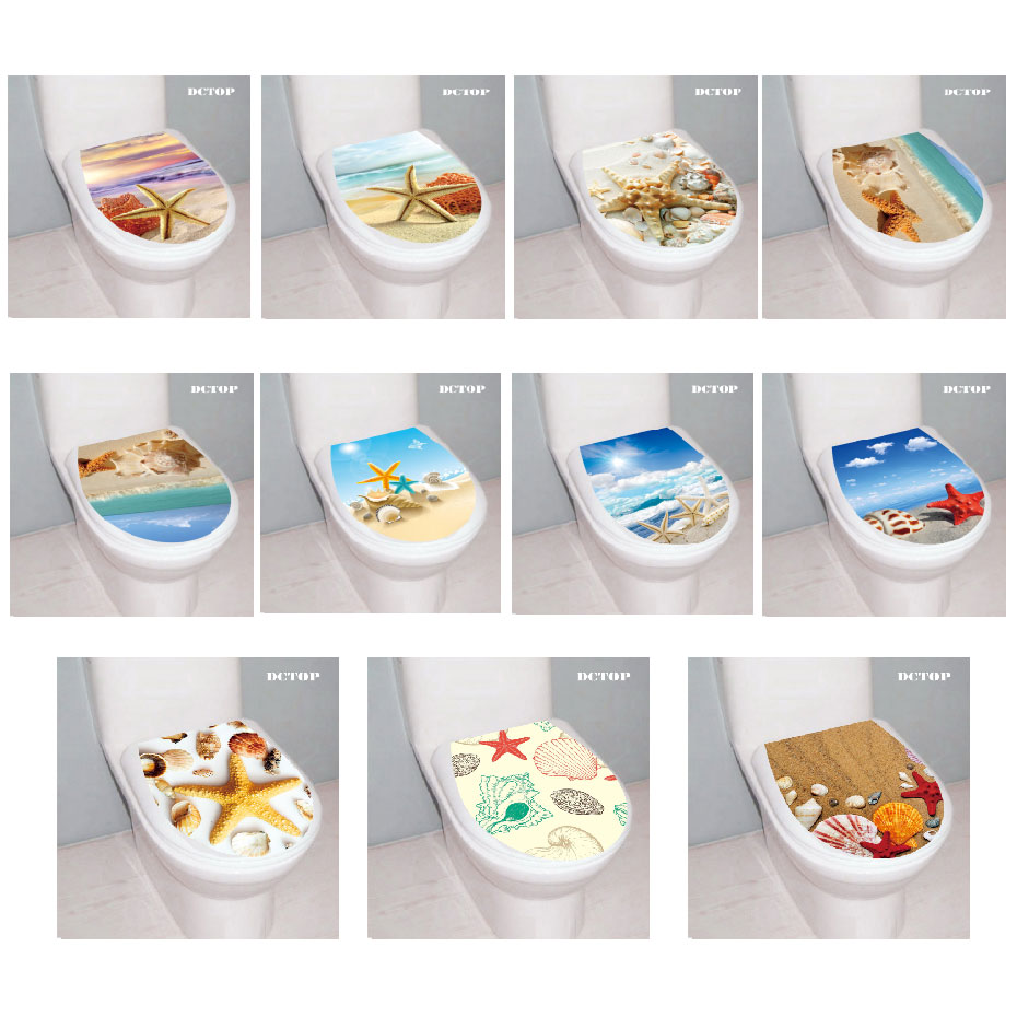 Decal Sticker Toilet-Decor Starfish Landscape Bath-Room Vinyl Animal Sea Beach Shell