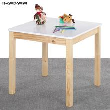 iKayaa US Stock Cute Wooden Table Kids Table Solid Pine Wood Square Toddler Children Activity Table for Playing Learning(China)