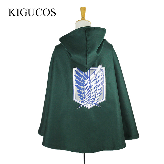KIGUCOS 2 Colors Black And Green Anime Shingeki No Kyojin Scouting Legion Eren Levi Cloak Attack on Titan Cosplay Costumes Cape