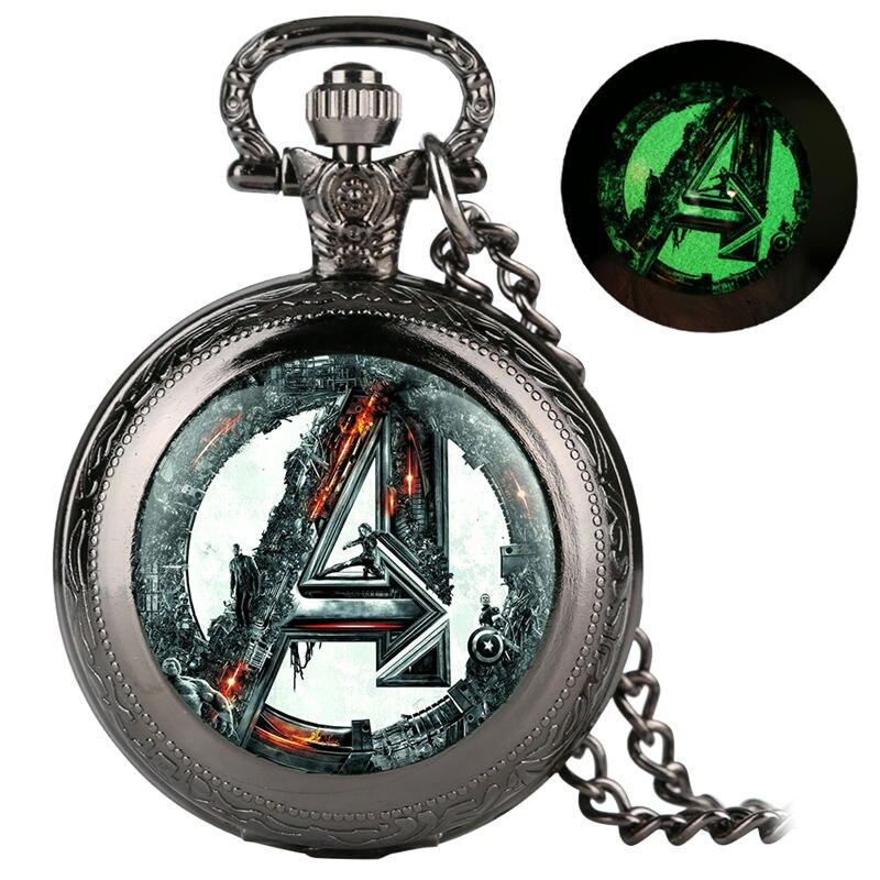Unisex Alloy Pocket Watch Avengers Alliance Series Retro Quartz Analog Luminous Pendant Watch Link Chain Reloj De Bolsillo