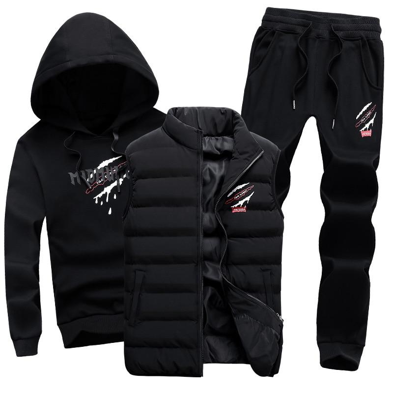 цена на Hoodie Sweatshirt Men Sport Suit 3 Pieces Brand Hood Warm Vest Sportswear Men's Tracksuit Hoodies Male Hooded Mens Clothing Set