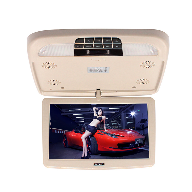 ФОТО 12'' Flip Down TFT LCD Monitor?Beige Color Car Roof Mount Monitors With LED Light Remote