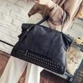 Rivet Nubuck Leather women bag Fashion Tassel Messenger Bag Vintage Shoulder Bag Larger Top-Handle Bags Mummy Package