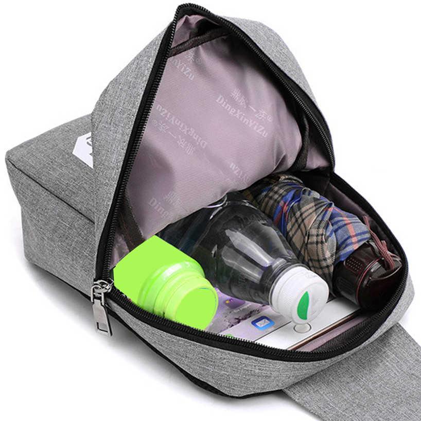 Bolsa de pecho en Diagonal para hombre, bolso de hombro para mujer, de ocio, para viajes, deportes, lienzos, para hombre, de negocios, bandolera con enchufe para auriculares