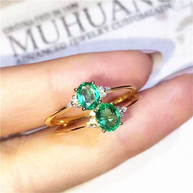 Emerald ring Free shipping 925 sterling silver Natural real emerald Fine green gem jewelry 4*6mm