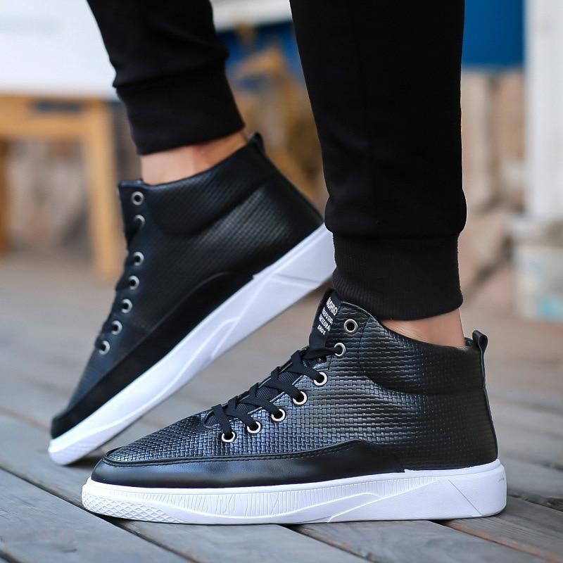 2018 Autumn High Top Men Sneakers Black White Male Shoes Adult Casual Comfortable Non-slip Men Shoes Leather Walking Shoes Man все цены