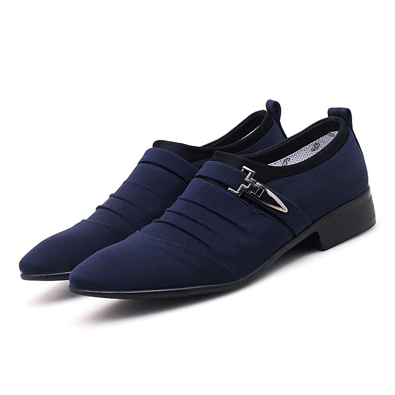 Blue canvas oxfords shoes