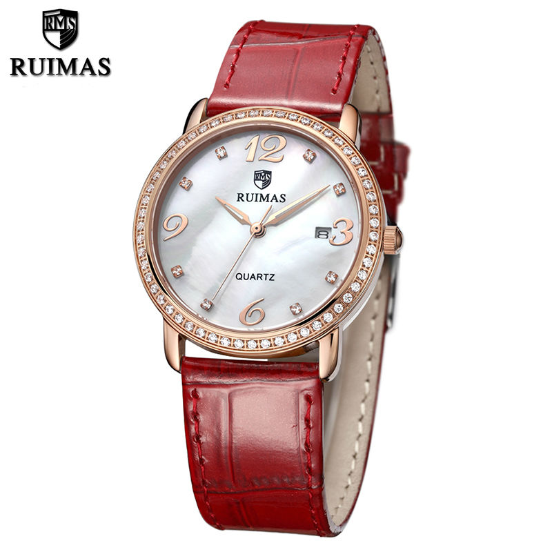 цены  RUIMAS Fashion Quartz Women Watches Horloges Vrouwen Leather Strap Ladies Watch Clock for Girl Relogio Feminino Reloj Mujer