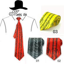 Fashion 10cm Wide 3 Straight Spectrum Music Note Black Red Mix Polyester Woven Classic Men`s Party Casual tie Neckties Gravata