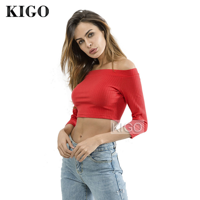 024706f3a61379 KIGO Sexy Red Off Shoulder Top and Blouses For Women Casual Slash Neck Half  Sleeve Woman Blouse 2018 Chemisier Femme KH1566H