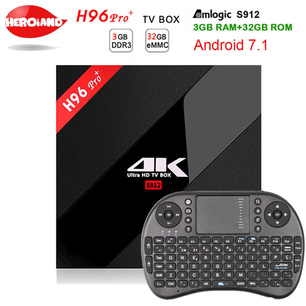 [Genuine] h96 pro plus 3g 32g Smart TV Box Android 7.1 Amlogic S912 OCTA Core Wifi 4K H.265 h96 media player h96pro set top box
