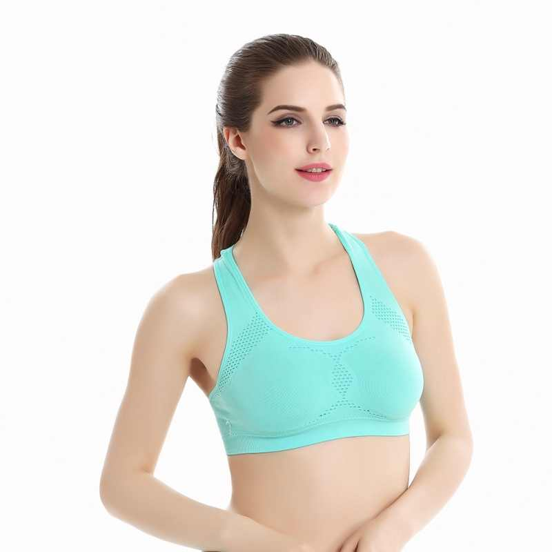 2d12901ef0 ... Women Workout Stretch Tank Top Yoga Padded Vest Sport Bra Top Racerback Sports  Bra ...