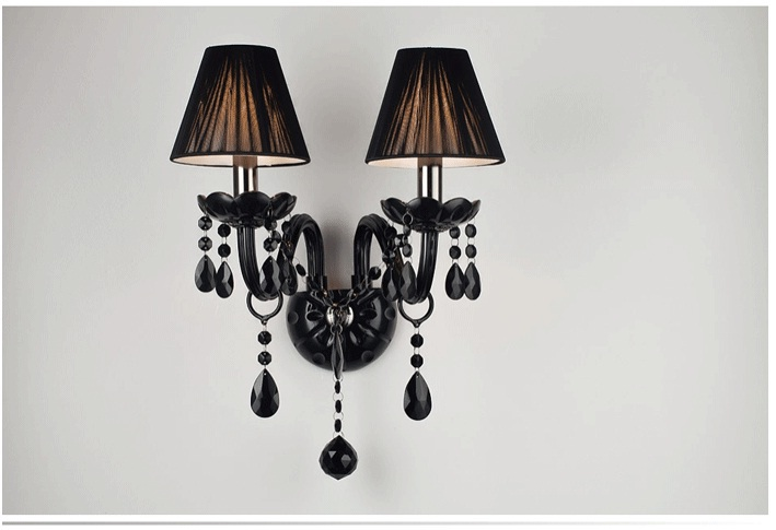 crystal wall lamp sconce Light crystal Black sconce light modern fashion crystal lamps entrance way of head wall lighting black e14 black crystal wall lamp light black silk fabric lampshade crystal wall lighting creatie crystal wall lamp study lamp
