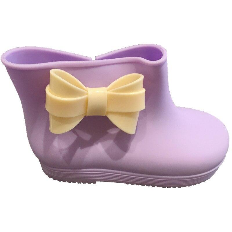 2017 Children Boots Kids Rainboots Shoes bow Rainboots Girls Shoes Cute Girls shoes jelly shoes Butterfly-knot 18M-3T