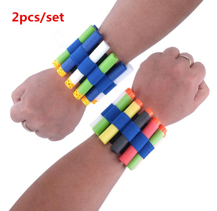 2pcs Toy Gun Bullet Wristband For Nerf Gun Soft Bullet Holder Professional Player Eva Bullet Accessories Outdoor Game Equipment