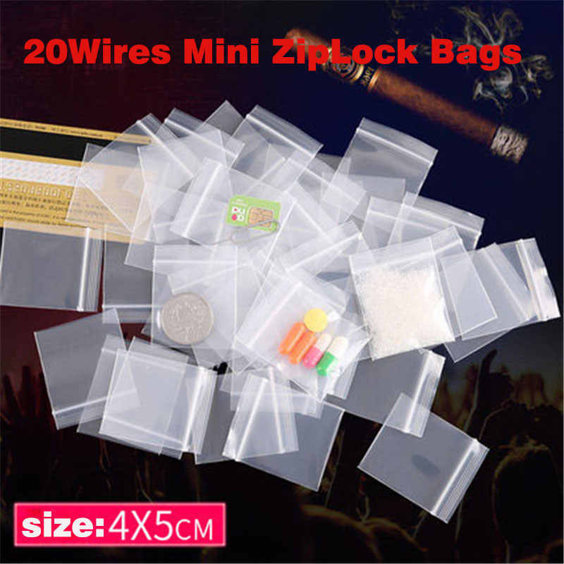 100Pcs/Lot 20 Wires Mini Zipper Lock Bags Thicken Plastic Packaging Bags Small Plastic Zipper Bag High Quality pill Bag
