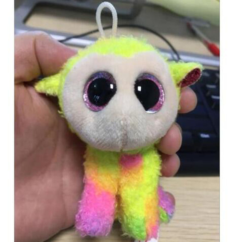 """Ty Beanie Boos The Rainbow Sheep Small Pendant Plush Toy Clip Stuffed Collection Soft Doll Without the Hook 4"""" 10cm"""