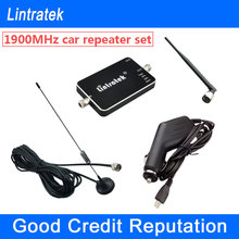 NEW Lintratek Vehicle GSM 1900Mhz Car Signal Repeater Mini PCS 1900 Cellphone Signal Booster Mobile Phone Car Amplifier Full Kit