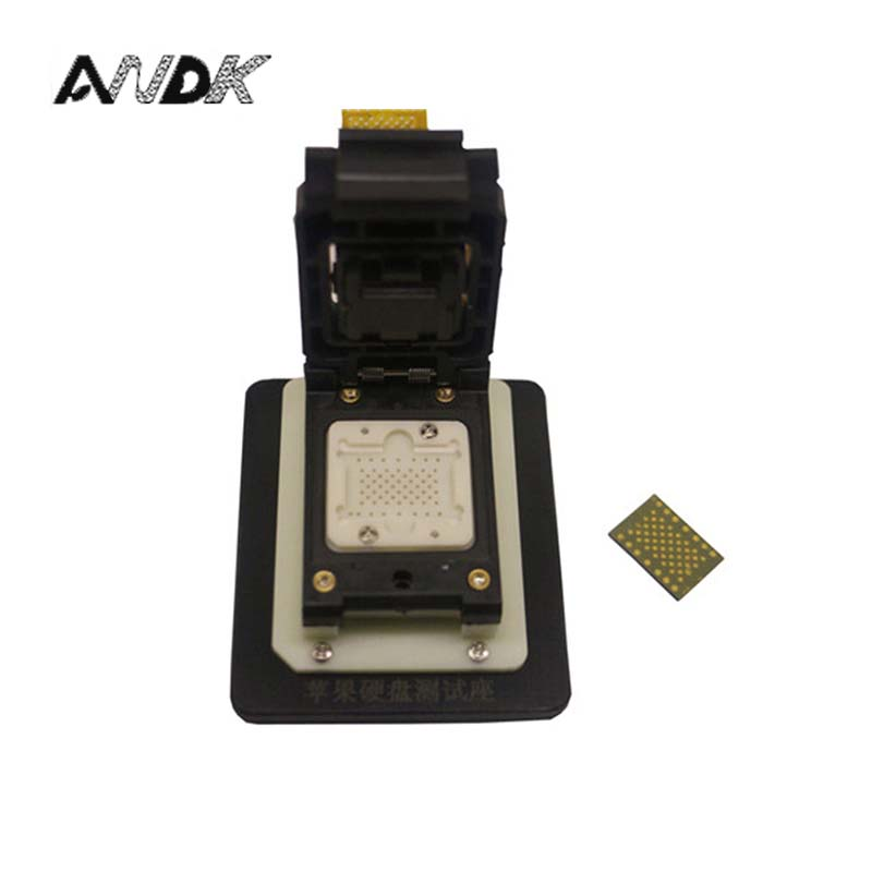 LGA60 NAND flash memory chip test socket jig fixture, changing serial number with FPC bga152 bga132 to dip48 test socket clamshell structure jig ssd interface socket fixture