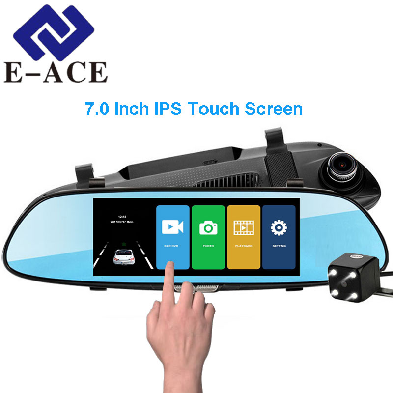 E-ACE 7.0 Inch IPS Touch Screen Car DVR Full HD 1080P Video Recorder Dual Dash Camera Mirror Rear View Auto Registrator Dashcam