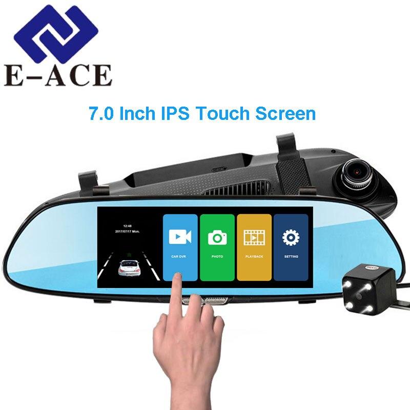 E-ACE 7.0 pollice IPS Dello Schermo di Tocco Car DVR Full HD 1080 p Video Recorder Dual Dash Macchina Fotografica Dello Specchio di Retrovisione auto Registrator Dashcam