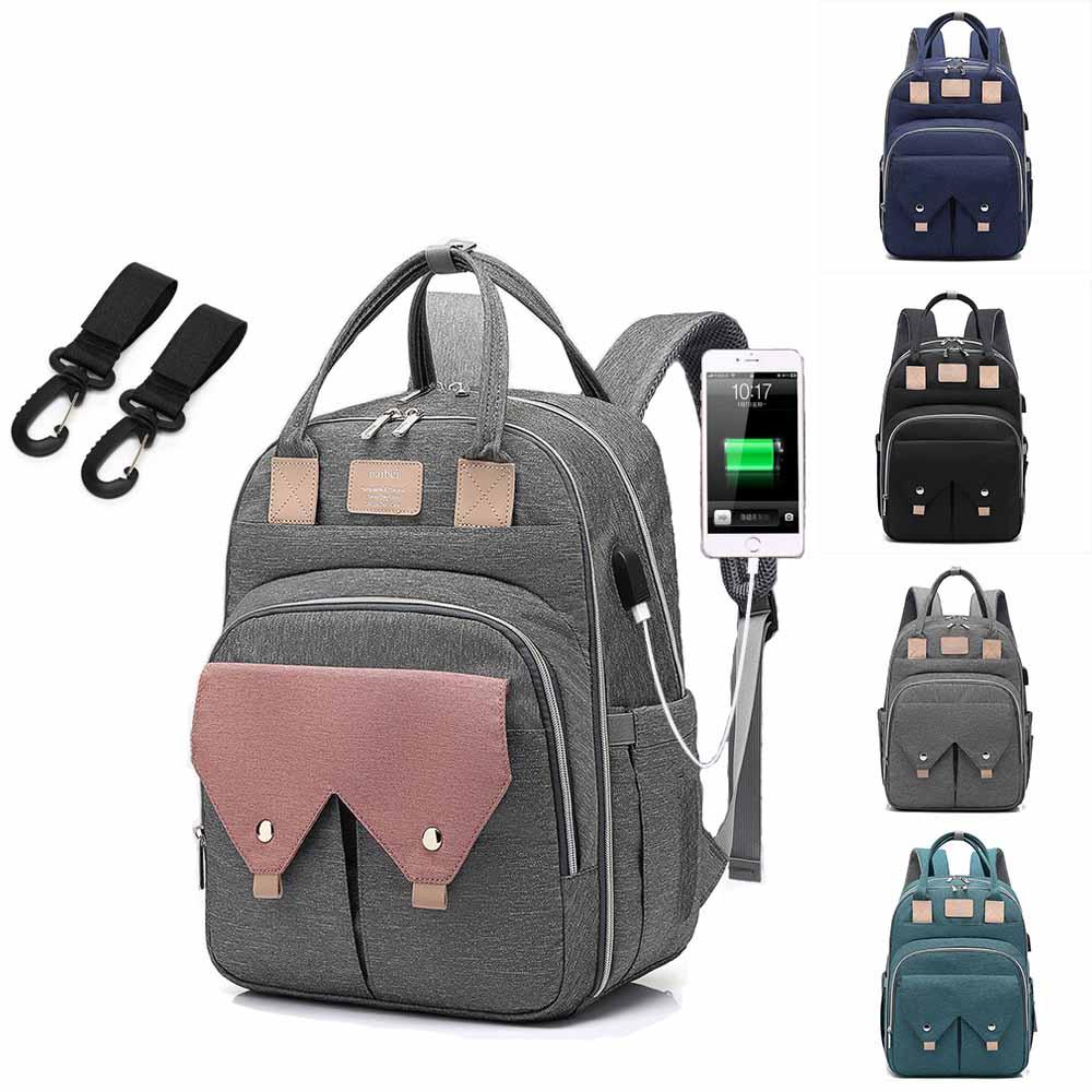 Baby Diaper Bag Mommy Backpack For Mom 2019 USB Maternity Baby Nappy Nursing Bags Travel Diaper Backpack For Stroller Kit