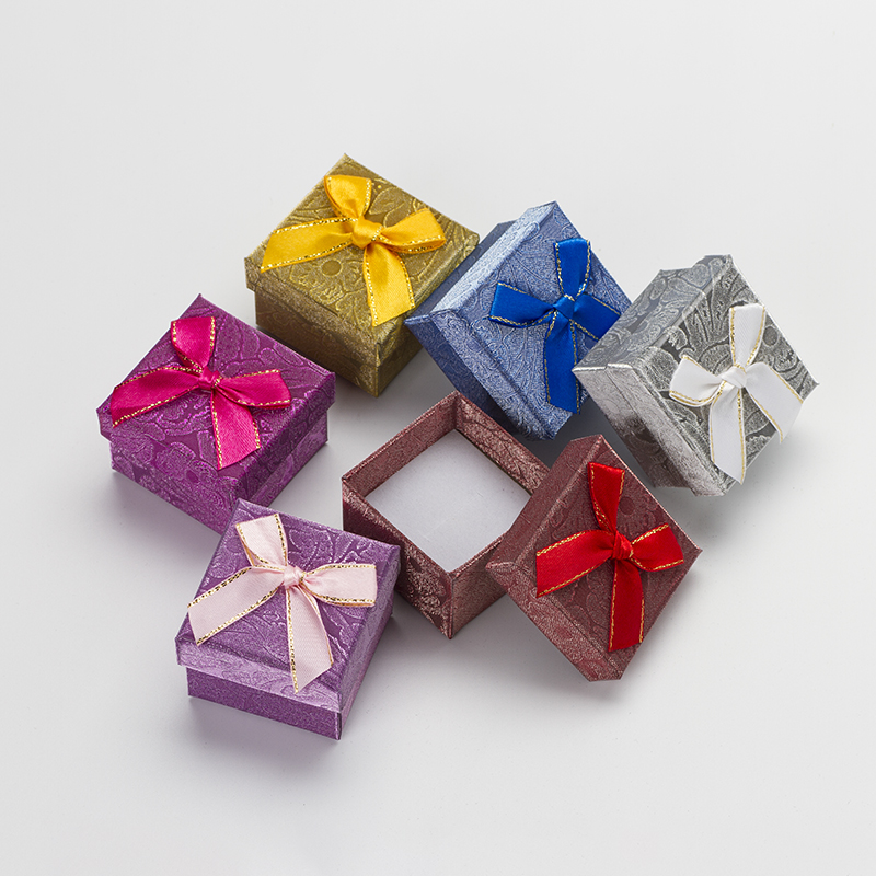 6pcs 5*5*3cm Fashion Ring Box Multi Colors Present Earring Gift Box Cardboard Jewelry Display Packing Storage Box Case