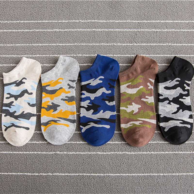 Helisopus 5 Pair/set Men Summer New Short Socks Camouflage Printed Socks Fashion Invisible Cotton Leisure Sports Socks