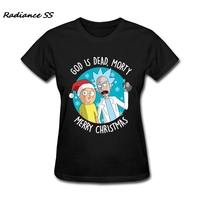 New Style Merry Christmas Gift Tops Custom Made Rick And Morty Women Tshirts Simple Style O
