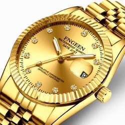 Лидирующий бренд золото серебро Пара часы мужские и женские часы класса люкс Полный стали водонепроницаемый календарь женщина мужчина