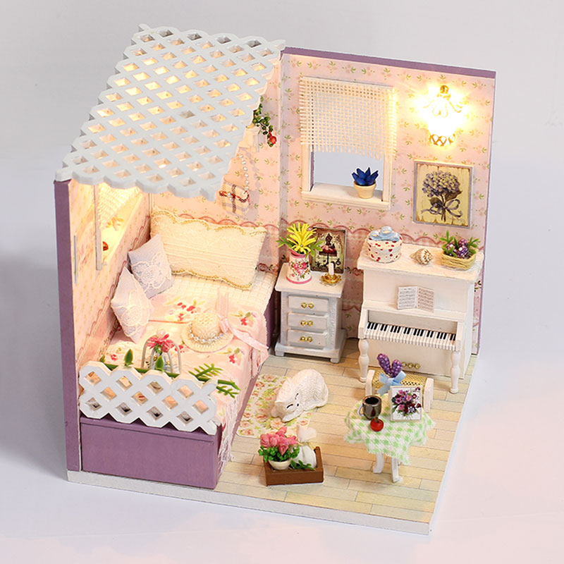 iiE Create Dollhouse Miniature Toys House Bedroom with Furniture Accessories Cat Beautiful Doll House Wooden Toys for Girl Gift