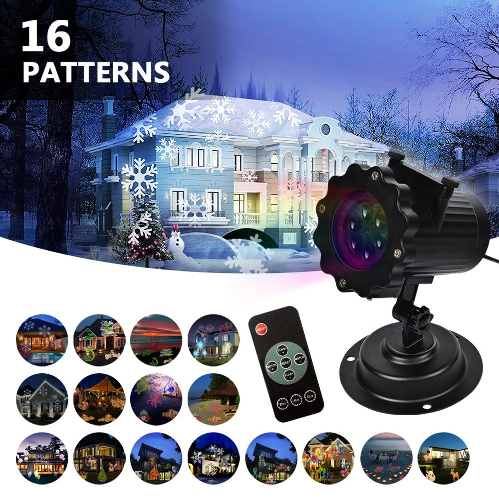 KMASHI LED Projector light 16 Replaceable Slides Christmas Birthday Wedding Garden Park Auto Decoration Outdoor lighting