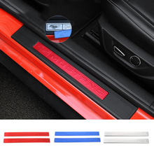 Здесь можно купить   HANGUP Aluminum Door Sill Entry Guard Trim Scuff Plate Exterior Decoration Stickers Fit For Ford Mustang 2015 Up Car Styling Auto Replacement Parts