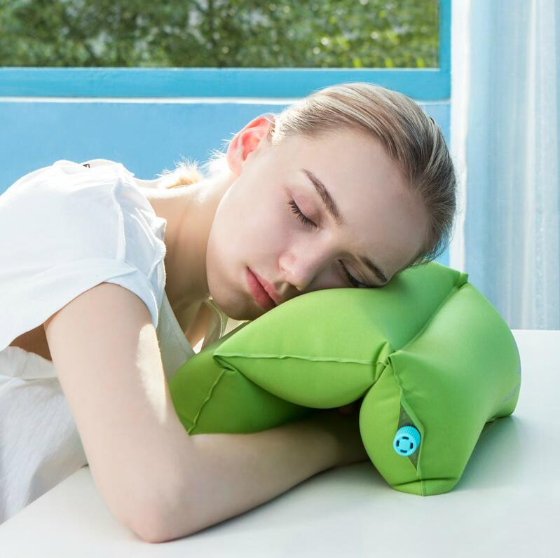 Super Soft Neck Pillow for Airplane Office Desk Sleep Portable TPU Velvet Fabric Inflatable Air For Student Office worke