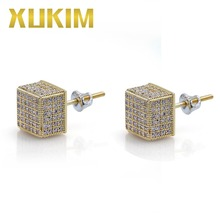 Xukim Jewelry Wholesale Iced Out Square Stud Earrings AAA Cubic Zirconia Hip Hop Jewelry Party Gift Rapper Punk Rock Style xukim jewelry silver gold color cubic zirconia iced out paw dog cat claw pendant necklace hip hop jewelry